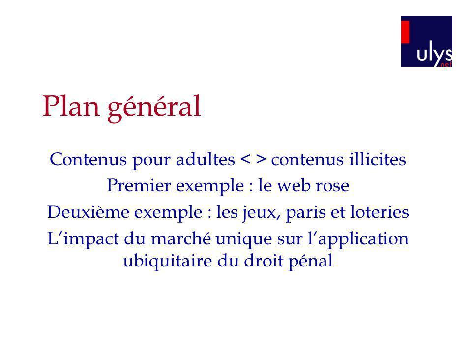 Plan général Contenus pour adultes < > contenus illicites