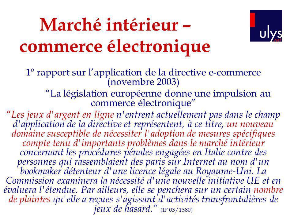 Marché intérieur – commerce électronique