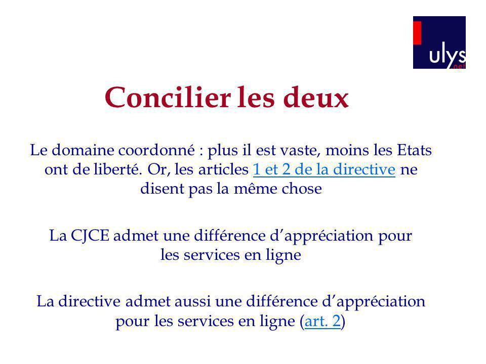 La CJCE admet une différence d'appréciation pour les services en ligne