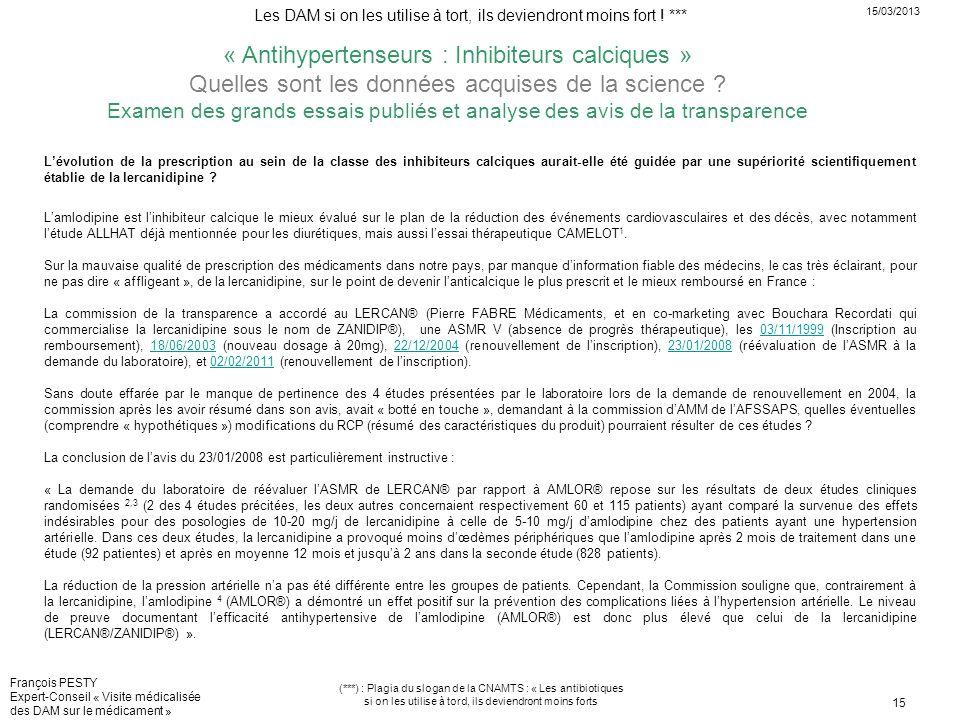 « Antihypertenseurs : Inhibiteurs calciques »