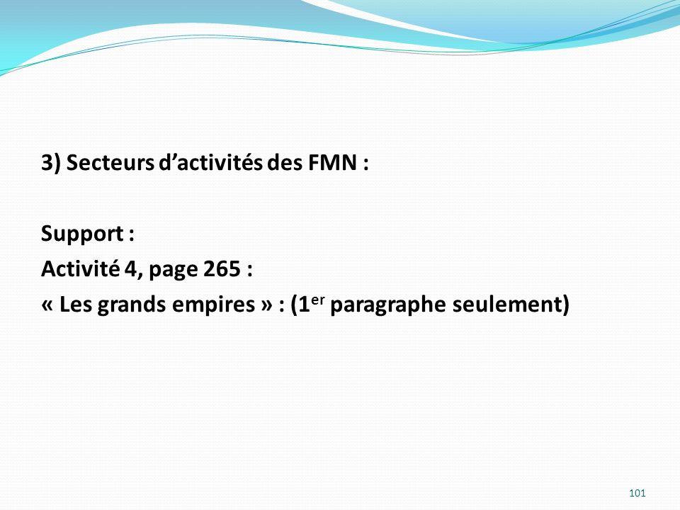 3) Secteurs d'activités des FMN : Support : Activité 4, page 265 : « Les grands empires » : (1er paragraphe seulement)