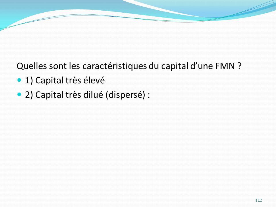 Quelles sont les caractéristiques du capital d'une FMN
