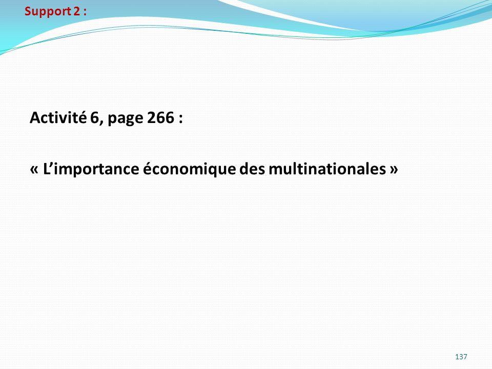 Activité 6, page 266 : « L'importance économique des multinationales »