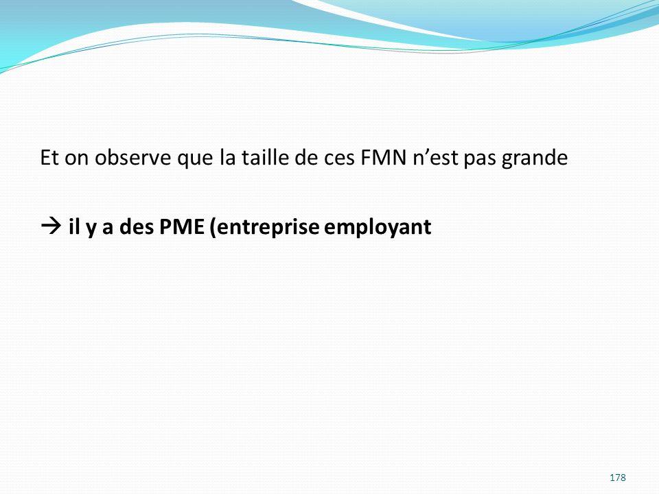 Et on observe que la taille de ces FMN n'est pas grande  il y a des PME (entreprise employant