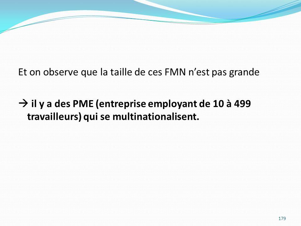Et on observe que la taille de ces FMN n'est pas grande  il y a des PME (entreprise employant de 10 à 499 travailleurs) qui se multinationalisent.