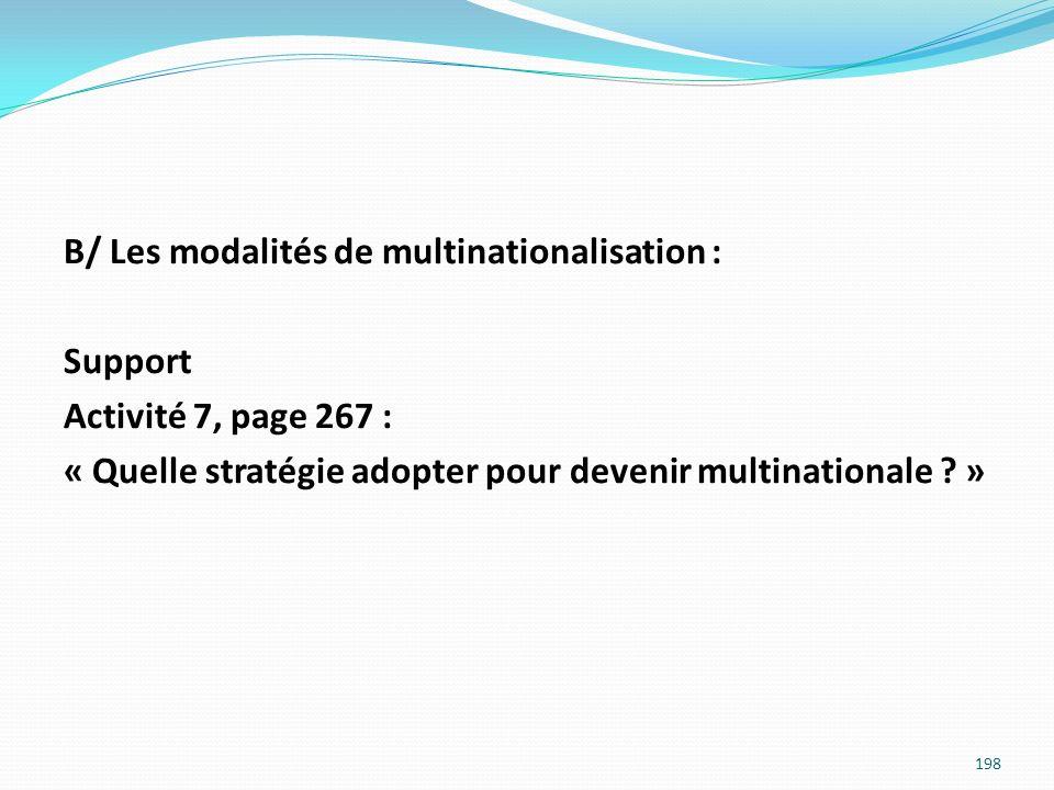B/ Les modalités de multinationalisation : Support Activité 7, page 267 : « Quelle stratégie adopter pour devenir multinationale .