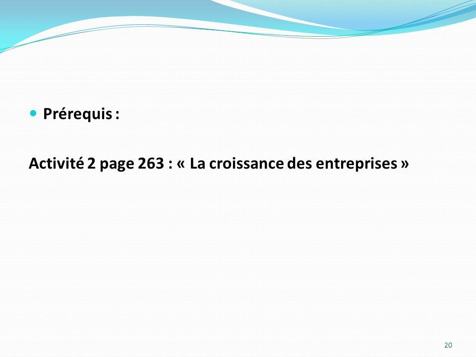 Prérequis : Activité 2 page 263 : « La croissance des entreprises »