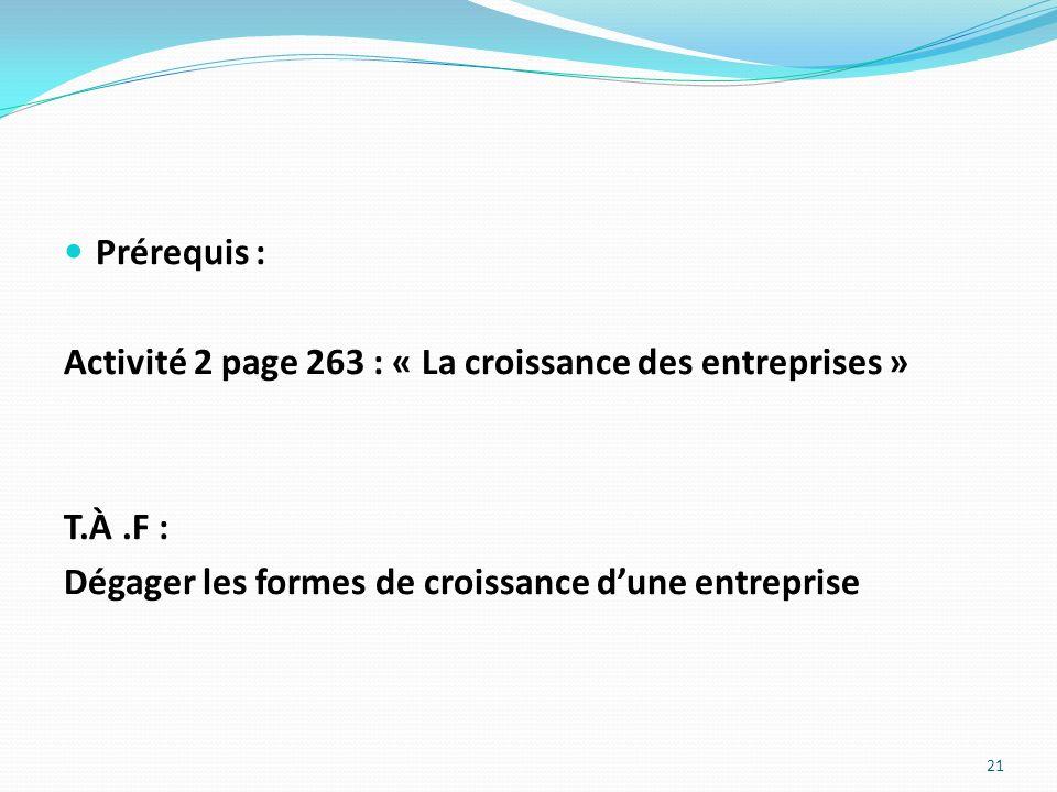Prérequis : Activité 2 page 263 : « La croissance des entreprises » T.À .F : Dégager les formes de croissance d'une entreprise.