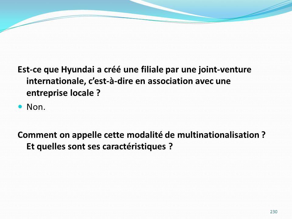 Est-ce que Hyundai a créé une filiale par une joint-venture internationale, c'est-à-dire en association avec une entreprise locale