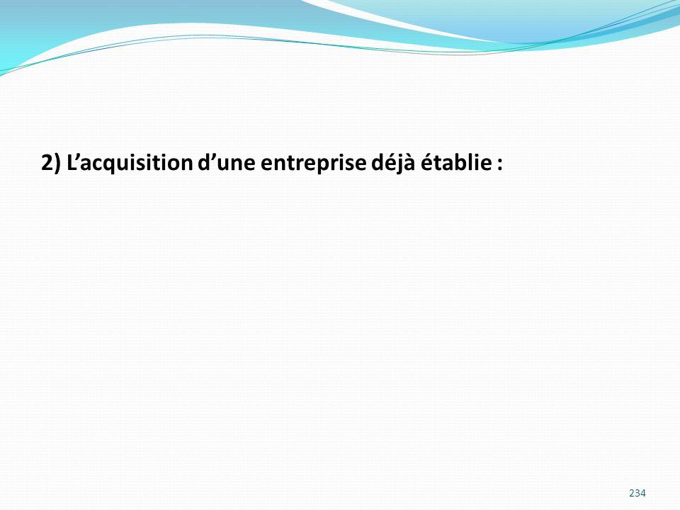 2) L'acquisition d'une entreprise déjà établie :