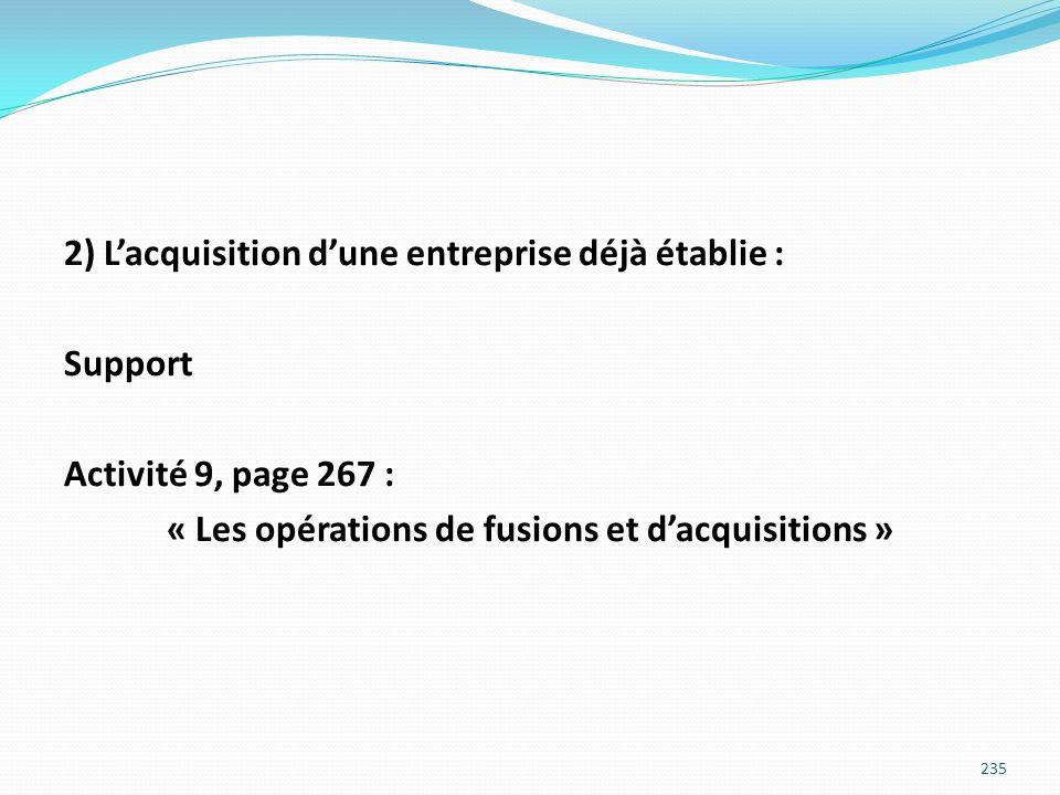 2) L'acquisition d'une entreprise déjà établie : Support Activité 9, page 267 : « Les opérations de fusions et d'acquisitions »