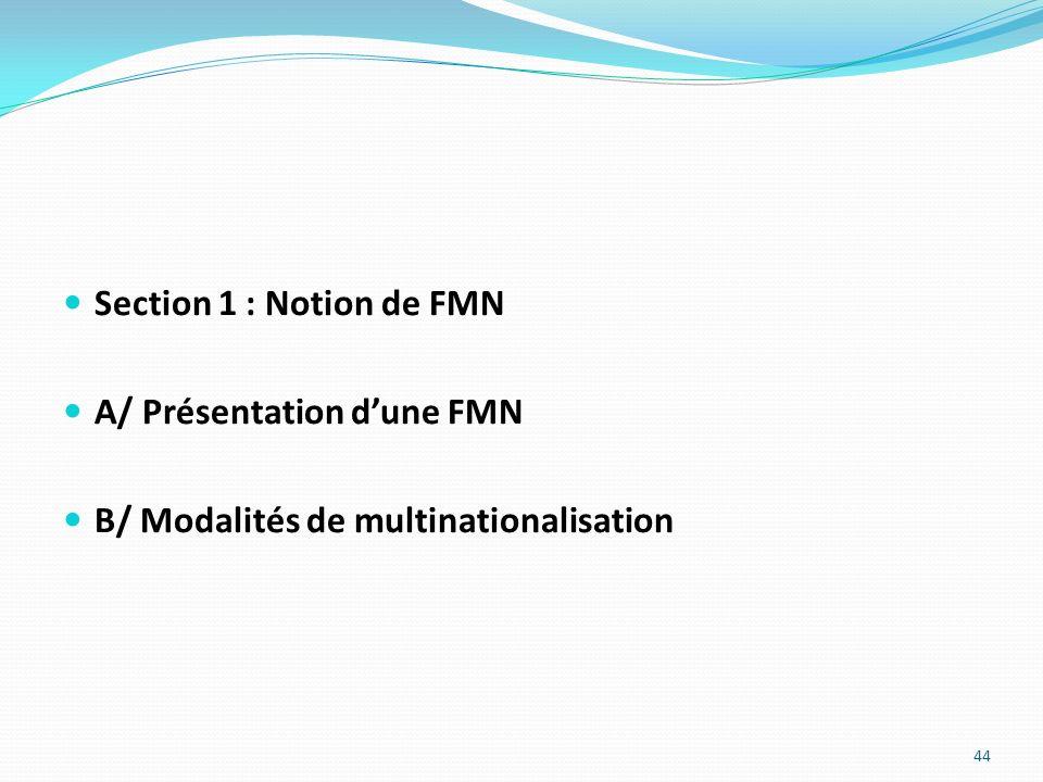 Section 1 : Notion de FMN A/ Présentation d'une FMN B/ Modalités de multinationalisation