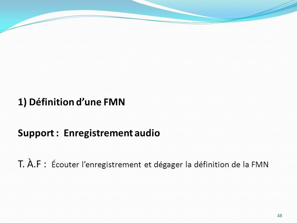1) Définition d'une FMN Support : Enregistrement audio.