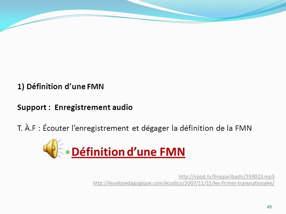 Définition d'une FMN 1) Définition d'une FMN
