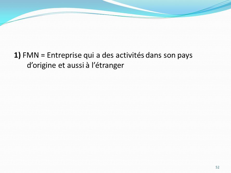 1) FMN = Entreprise qui a des activités dans son pays d'origine et aussi à l'étranger