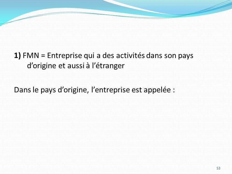 1) FMN = Entreprise qui a des activités dans son pays d'origine et aussi à l'étranger Dans le pays d'origine, l'entreprise est appelée :