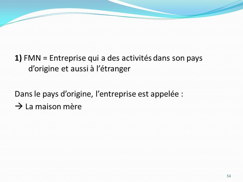 1) FMN = Entreprise qui a des activités dans son pays d'origine et aussi à l'étranger Dans le pays d'origine, l'entreprise est appelée :  La maison mère