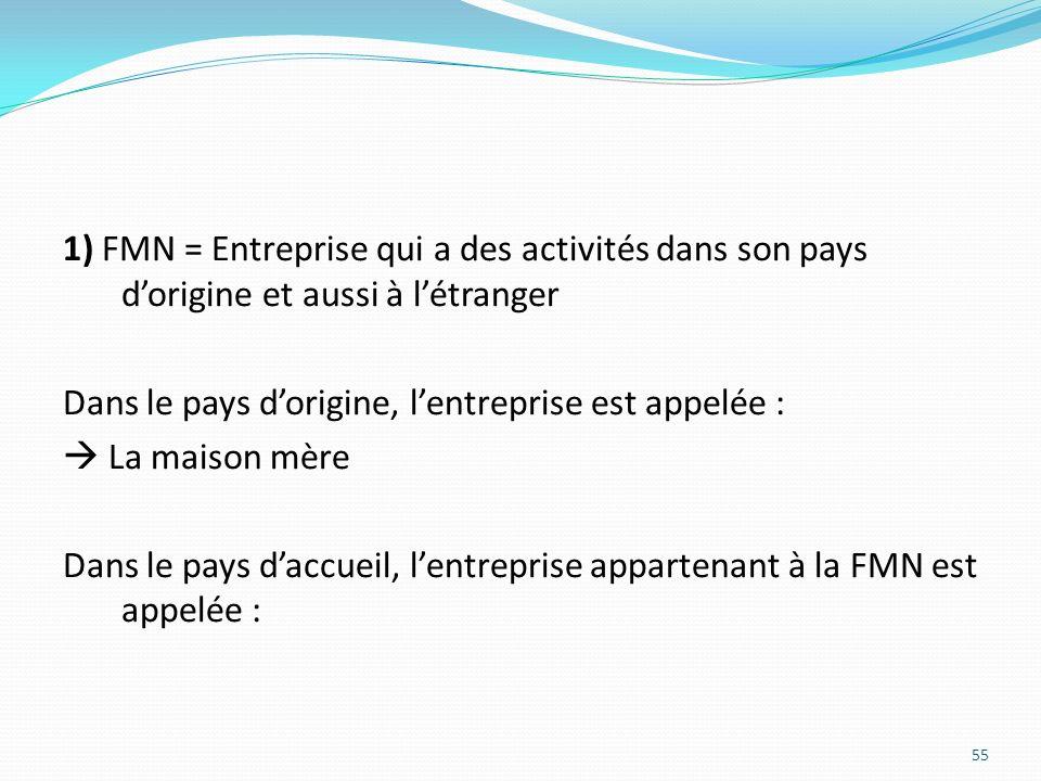 1) FMN = Entreprise qui a des activités dans son pays d'origine et aussi à l'étranger Dans le pays d'origine, l'entreprise est appelée :  La maison mère Dans le pays d'accueil, l'entreprise appartenant à la FMN est appelée :