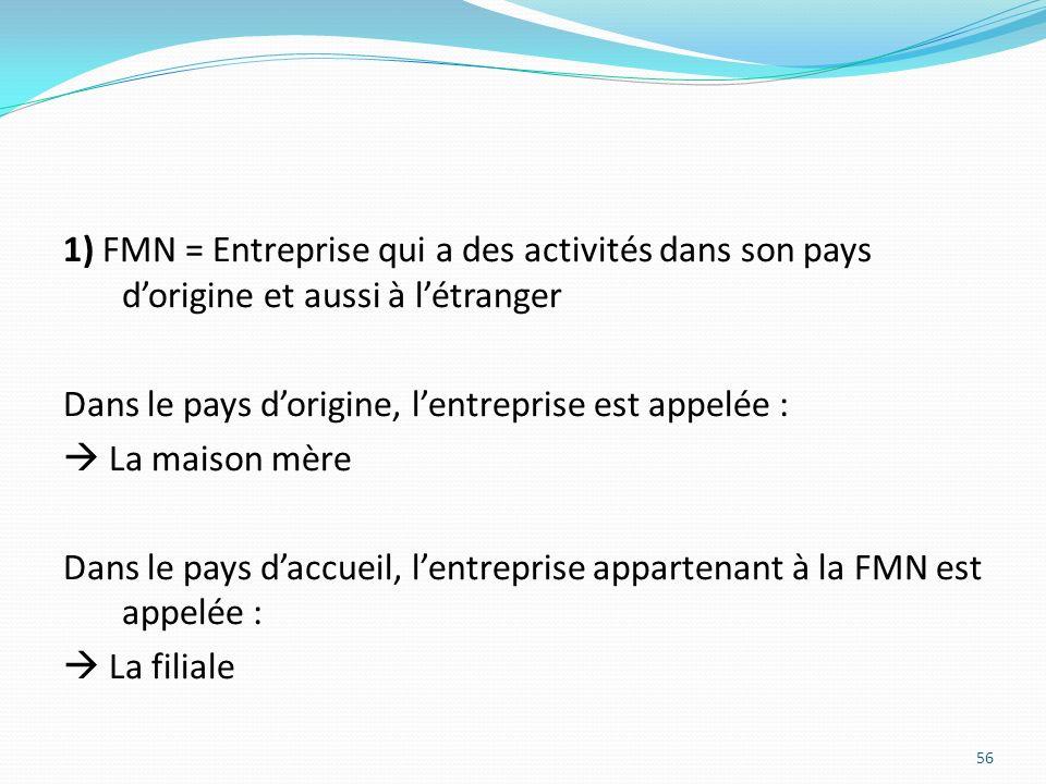 1) FMN = Entreprise qui a des activités dans son pays d'origine et aussi à l'étranger Dans le pays d'origine, l'entreprise est appelée :  La maison mère Dans le pays d'accueil, l'entreprise appartenant à la FMN est appelée :  La filiale