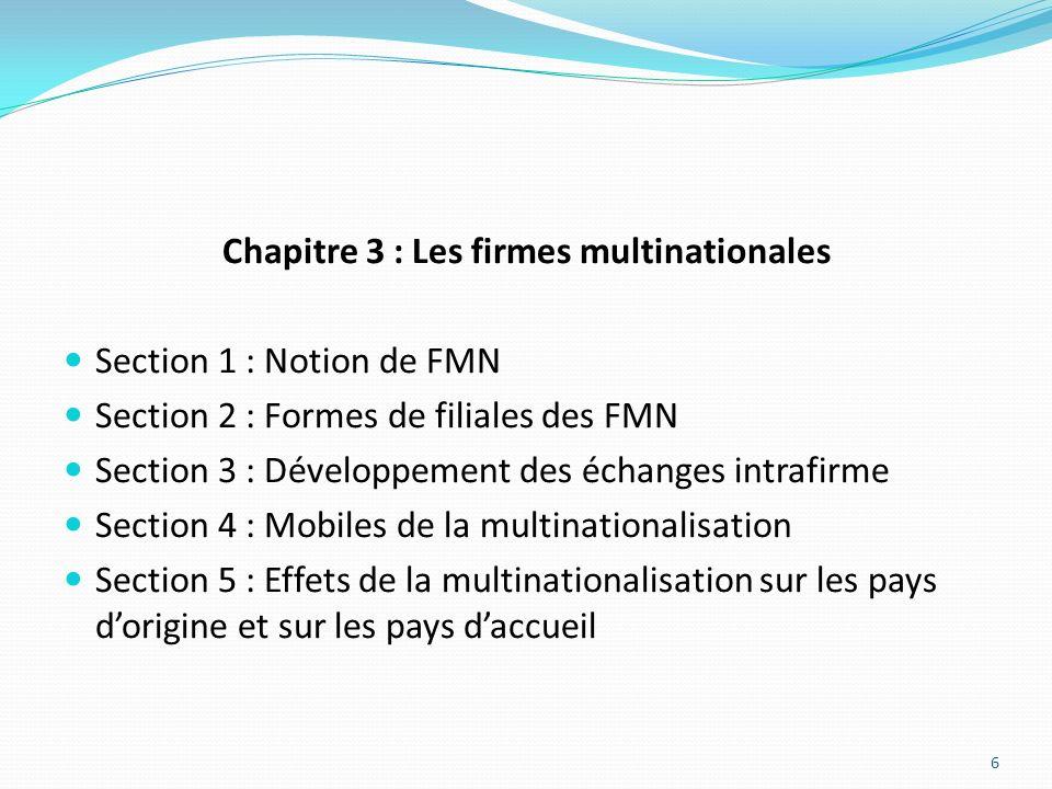 Chapitre 3 : Les firmes multinationales