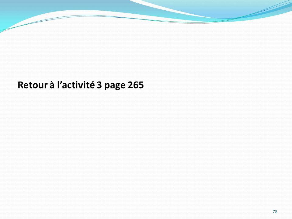 Retour à l'activité 3 page 265