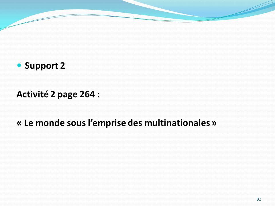 Support 2 Activité 2 page 264 : « Le monde sous l'emprise des multinationales »