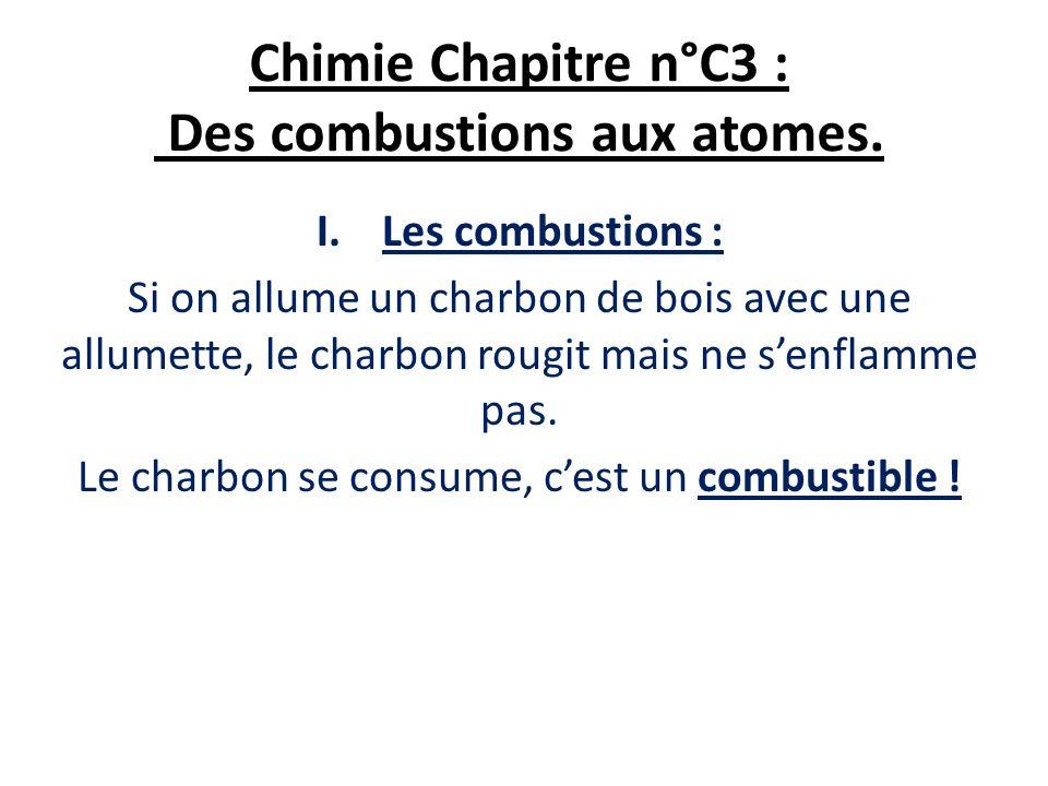 Chimie Chapitre n°C3 : Des combustions aux atomes.