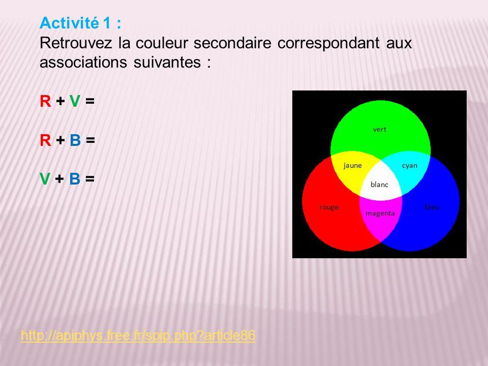 Activité 1 : Retrouvez la couleur secondaire correspondant aux associations suivantes : R + V = R + B =