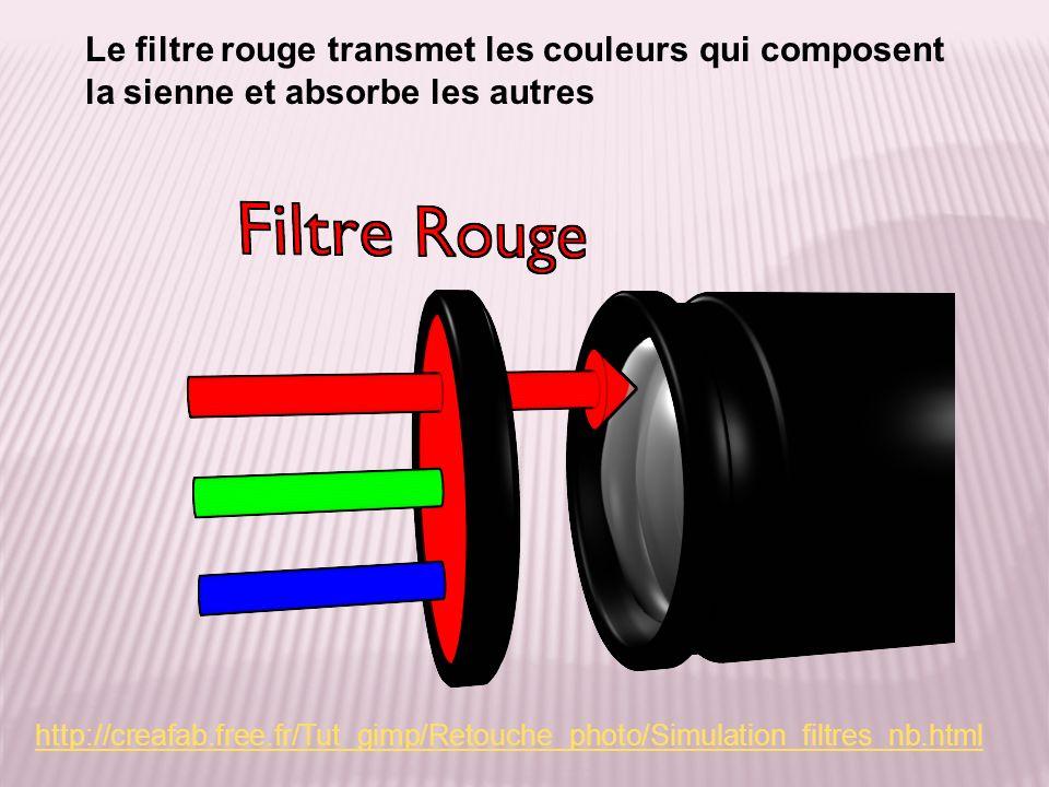 Le filtre rouge transmet les couleurs qui composent la sienne et absorbe les autres