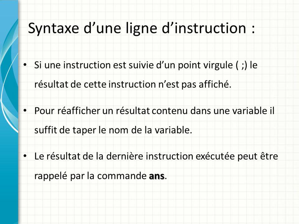 Syntaxe d'une ligne d'instruction :
