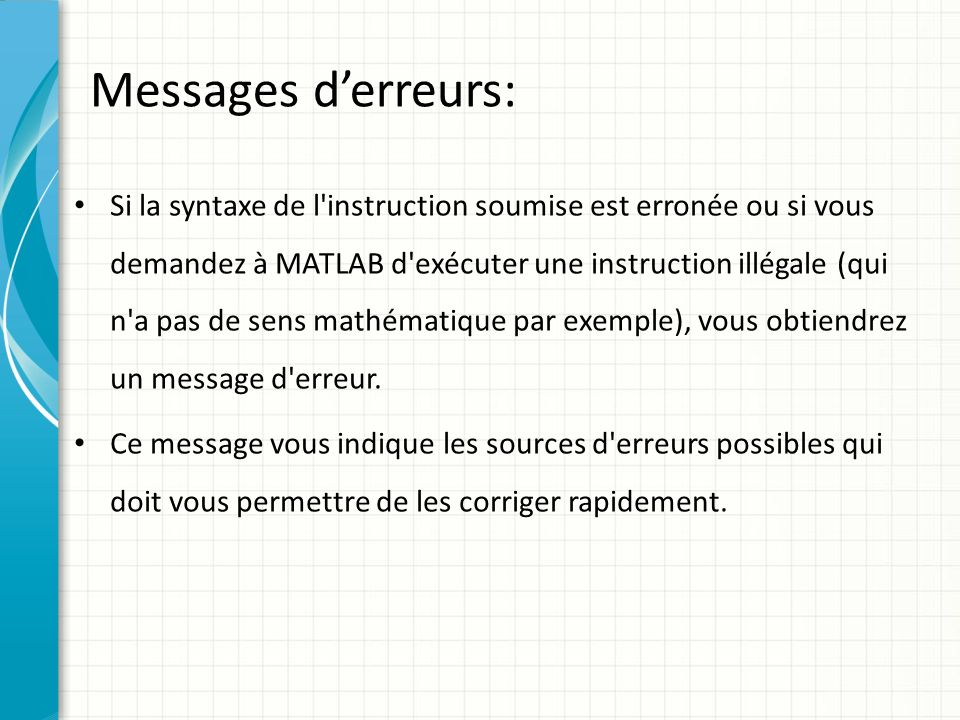 Messages d'erreurs: