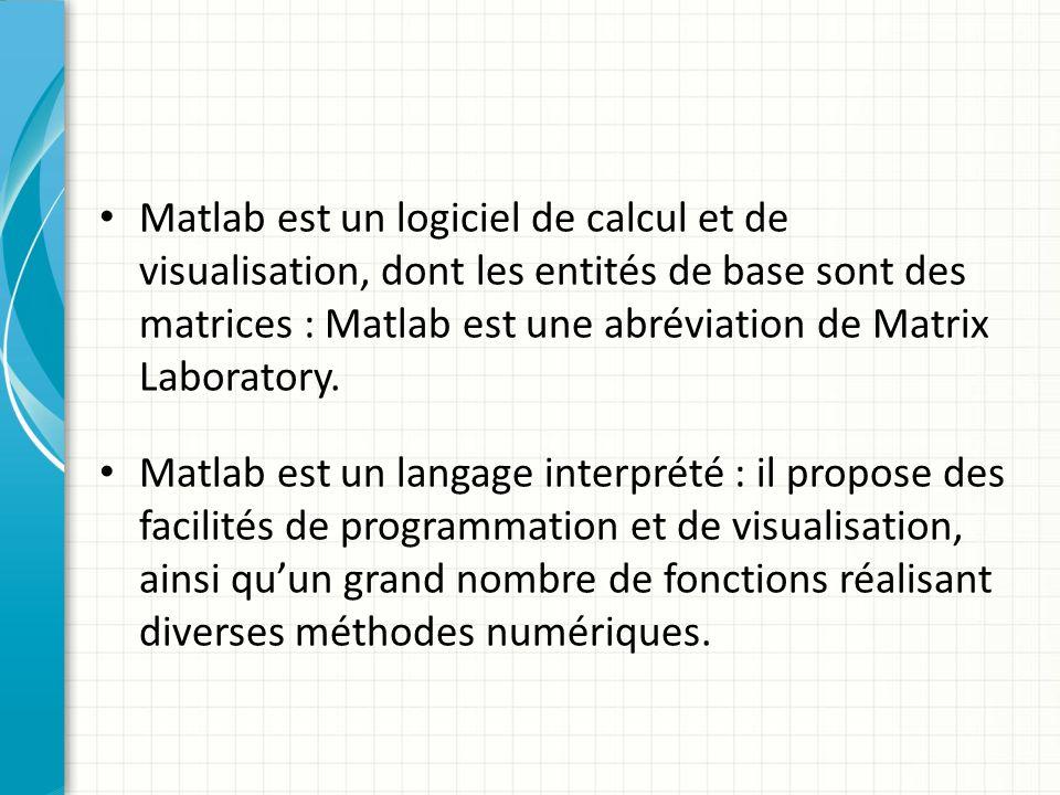 Matlab est un logiciel de calcul et de visualisation, dont les entités de base sont des matrices : Matlab est une abréviation de Matrix Laboratory.