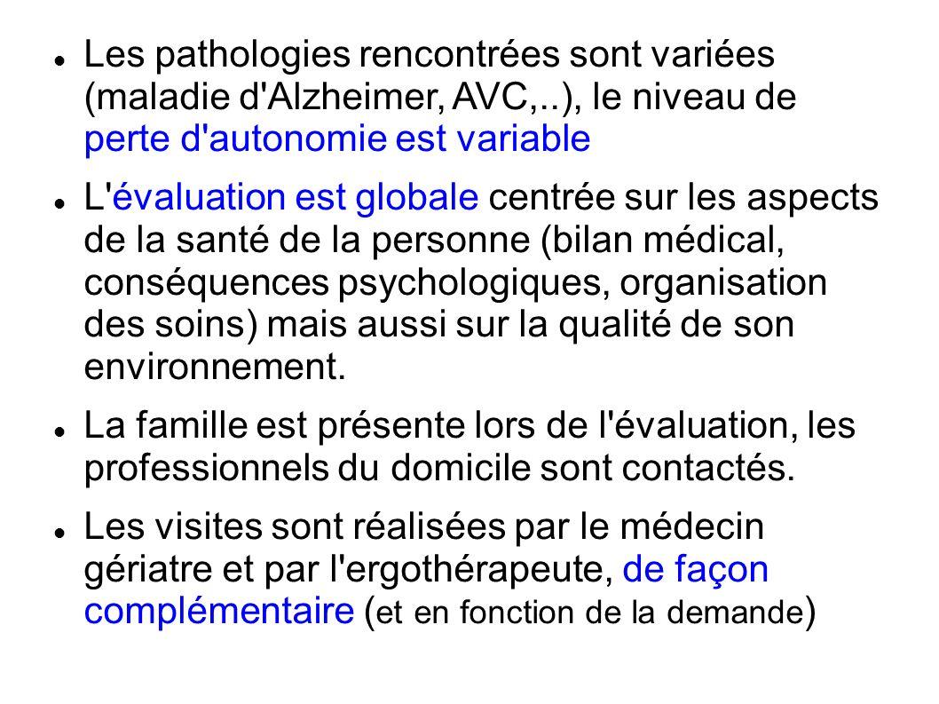 Les pathologies rencontrées sont variées (maladie d Alzheimer, AVC,