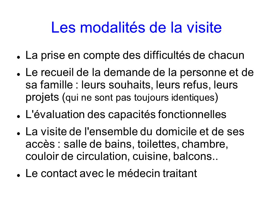 Les modalités de la visite