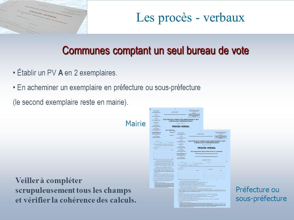 Communes comptant un seul bureau de vote