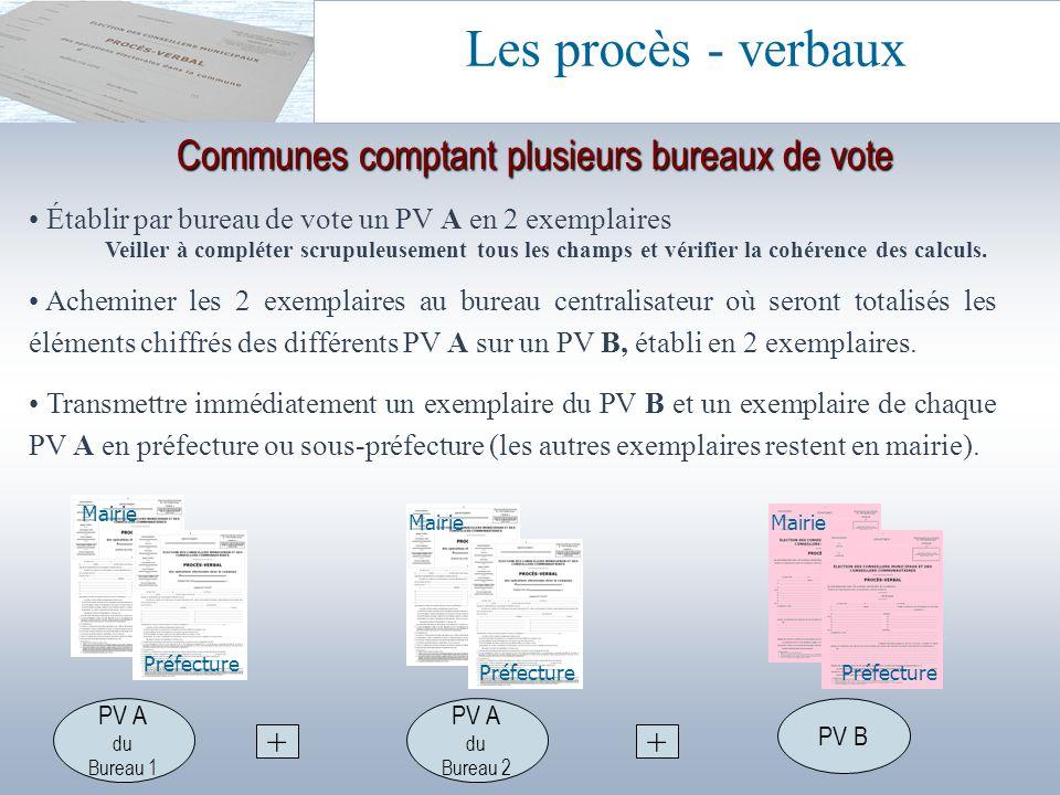 Communes comptant plusieurs bureaux de vote