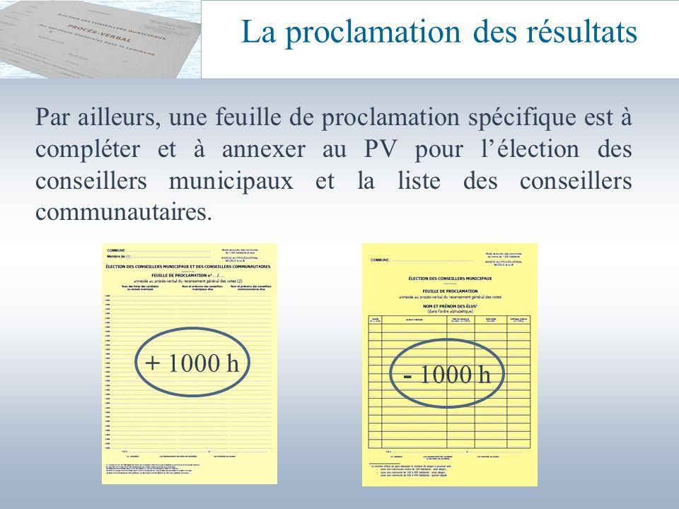 La proclamation des résultats
