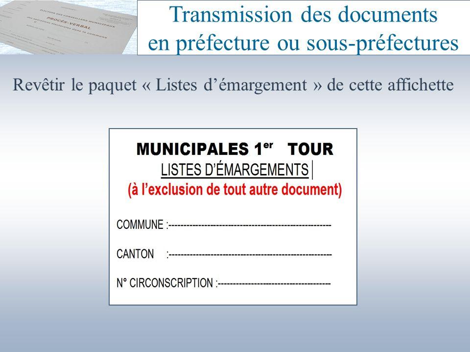 Transmission des documents en préfecture ou sous-préfectures