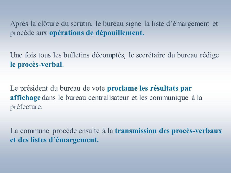 Après la clôture du scrutin, le bureau signe la liste d'émargement et procède aux opérations de dépouillement.