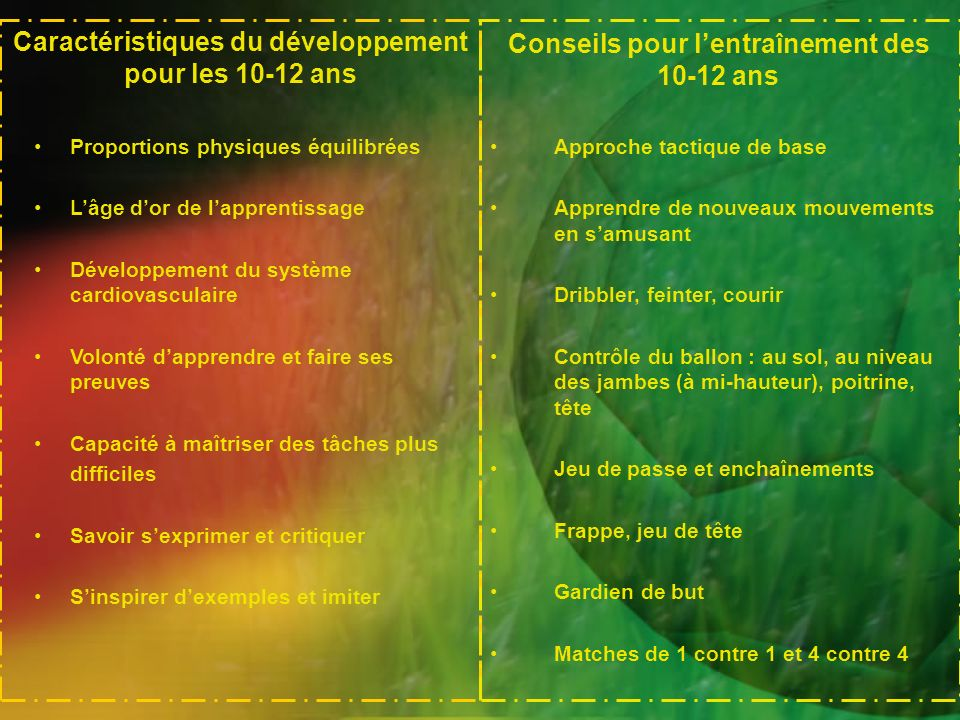 Caractéristiques du développement pour les 10-12 ans