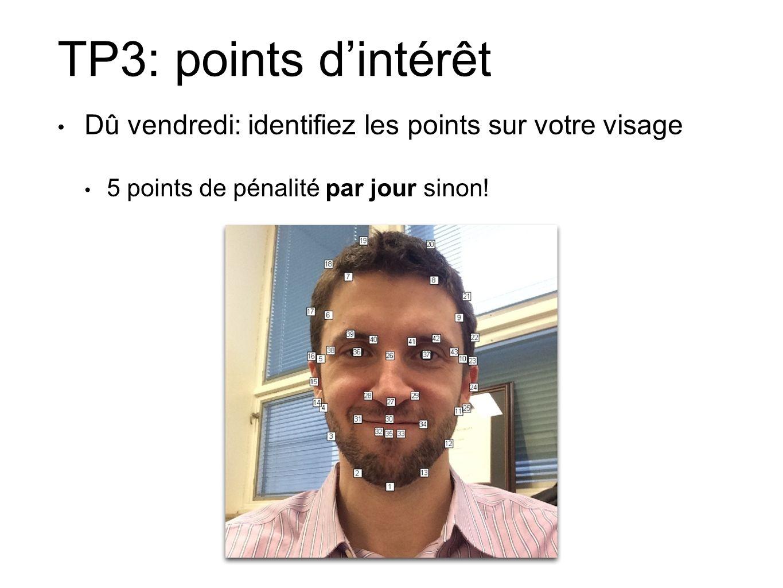 TP3: points d'intérêt Dû vendredi: identifiez les points sur votre visage.