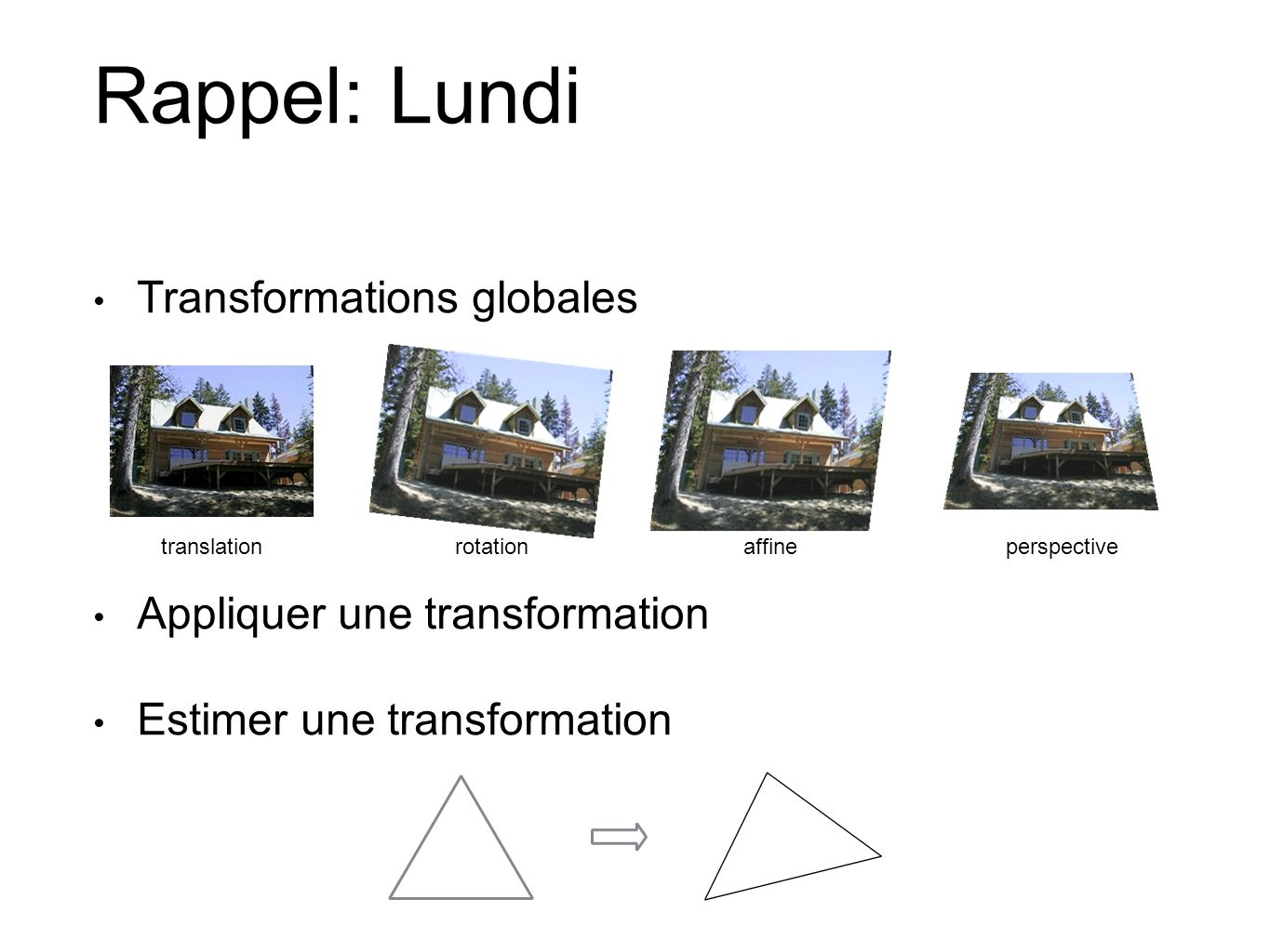Rappel: Lundi Transformations globales Appliquer une transformation