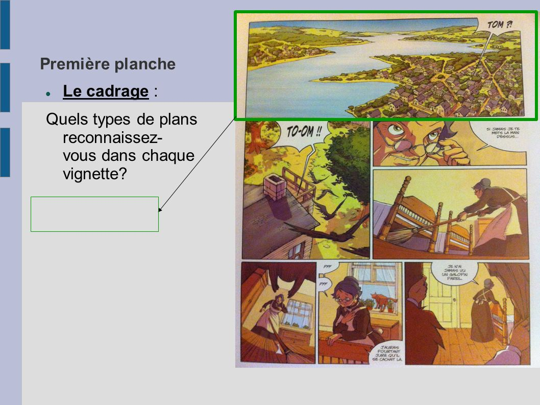 Première planche Le cadrage : Quels types de plans reconnaissez- vous dans chaque vignette