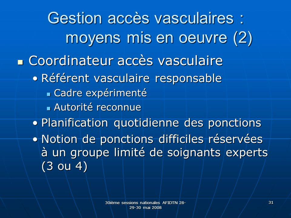 Gestion accès vasculaires : moyens mis en oeuvre (2)
