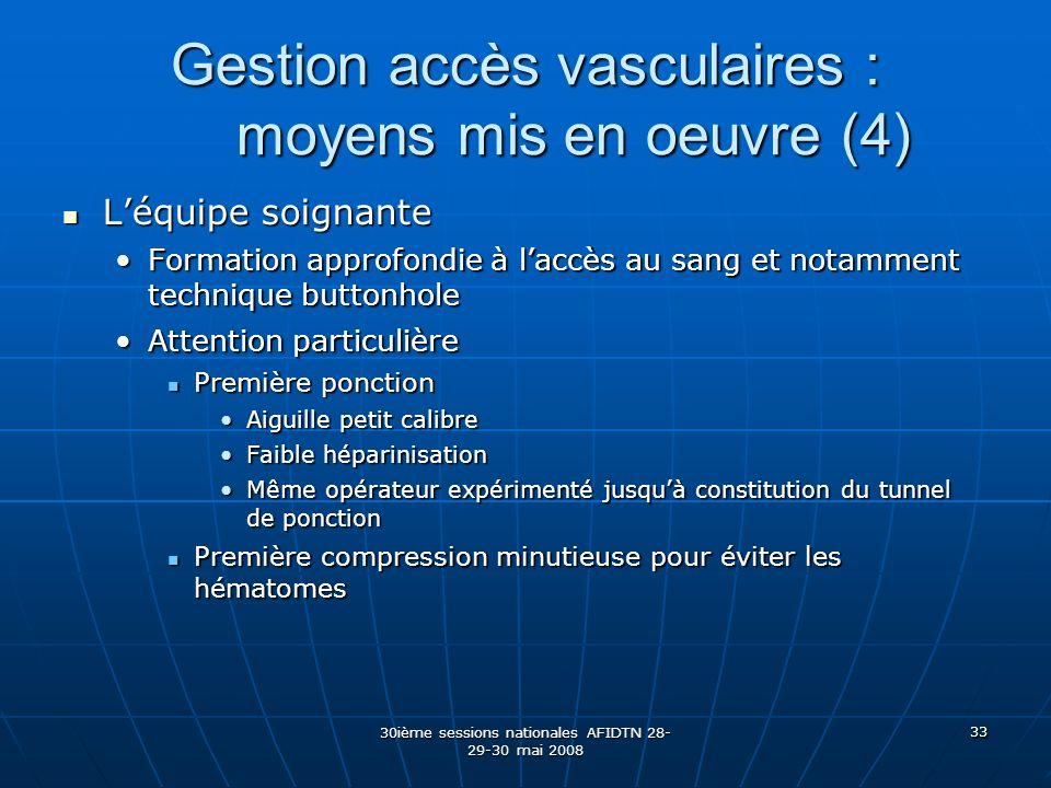 Gestion accès vasculaires : moyens mis en oeuvre (4)