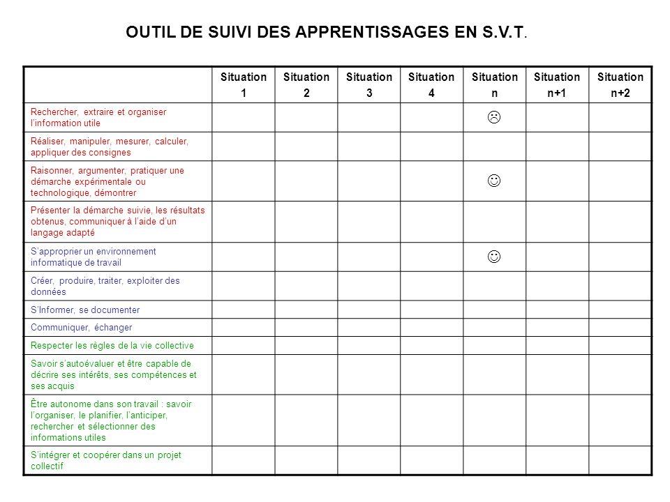 OUTIL DE SUIVI DES APPRENTISSAGES EN S.V.T.