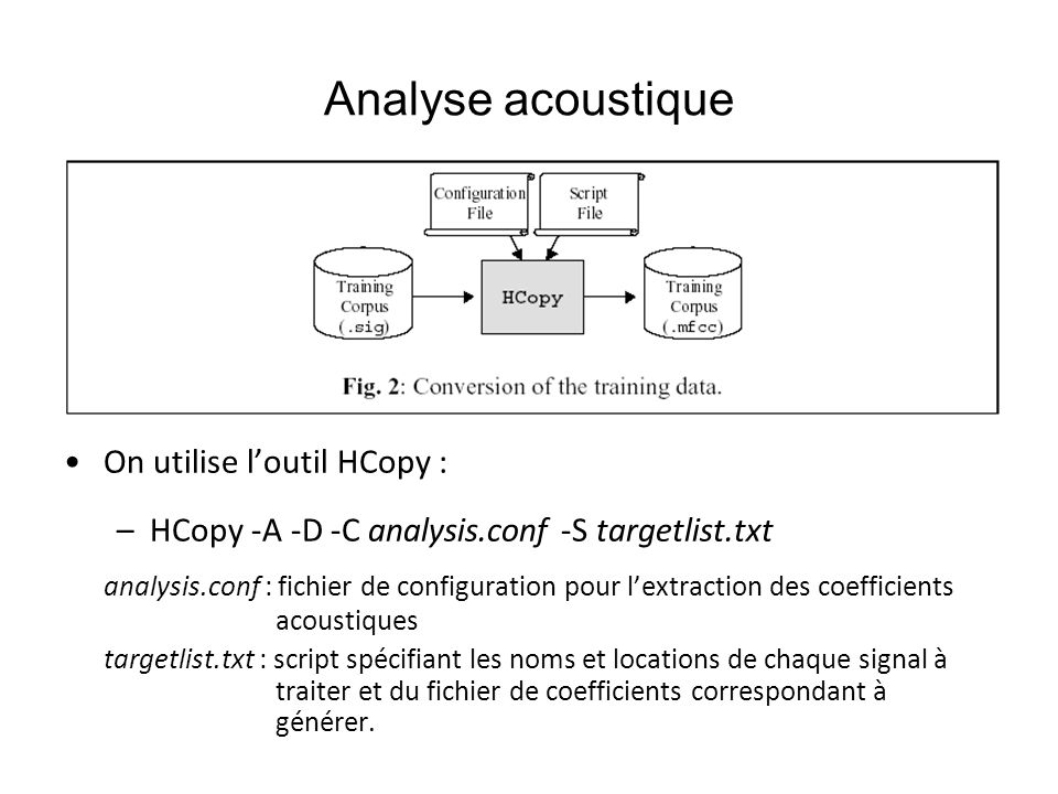 Analyse acoustique On utilise l'outil HCopy :