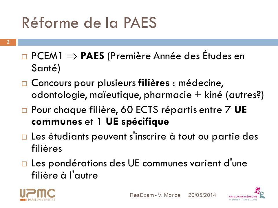 Réforme de la PAES PCEM1  PAES (Première Année des Études en Santé)