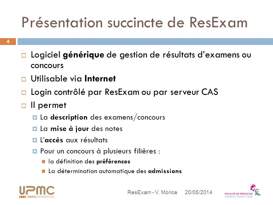 Présentation succincte de ResExam