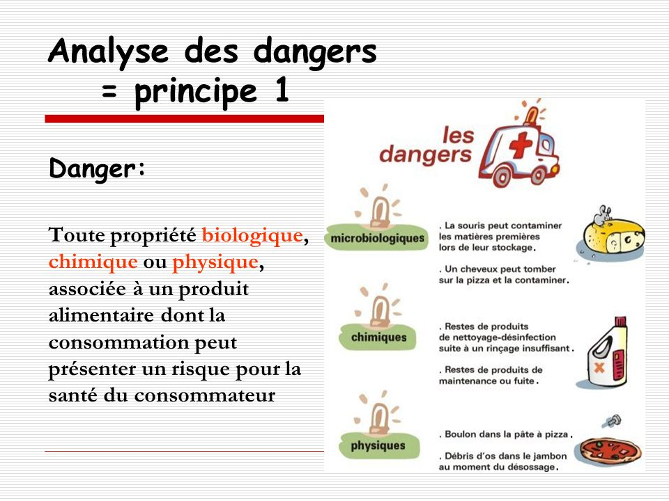 Analyse des dangers = principe 1